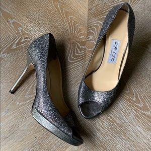 Jimmu Choo   Silver Metallic Peptoe Platform Heels